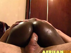Round Ass Ebony Babe Gets Rammed By A Monster Dick