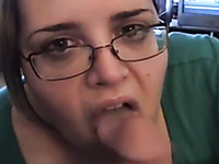 BBW In Glasses Looks Straight In Friend's Eyes While Sucking Him Dry